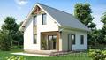 Дом с двускатной крышей,  подходящий,  также,  для небольшого участка